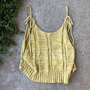 Free People Yellow Sleeveless Crop Top